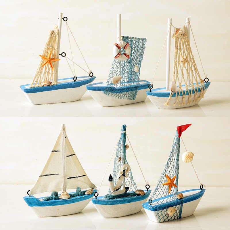Mediterranean Wooden Sailing Ship Handmade Carved Model Boat Home Nautical Micro Landscape Garden Miniature Craft Home Decor
