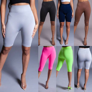 2019 Hot Sale Slim Leggings Womens High Waist Fitness Leggings Sport Running Workout Trousers Short Fashion Solid Color Leggings image