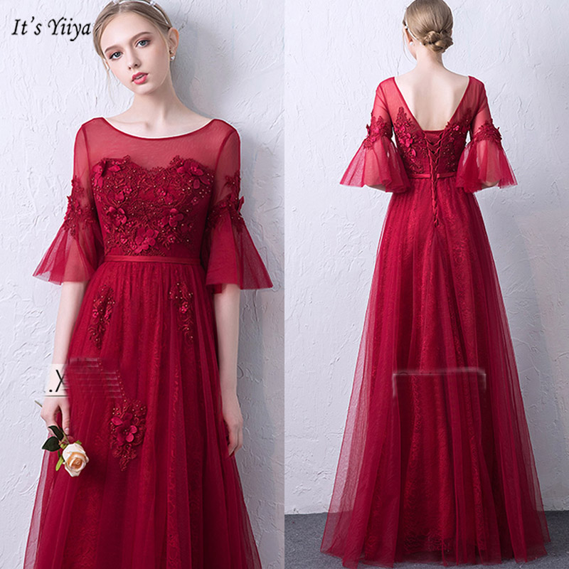 It's Yiiya   Evening     Dress   O-Neck A-Line Short Sleeve Women Party   Dresses   Appliques Simple Floor-Length Robe De Soiree V083