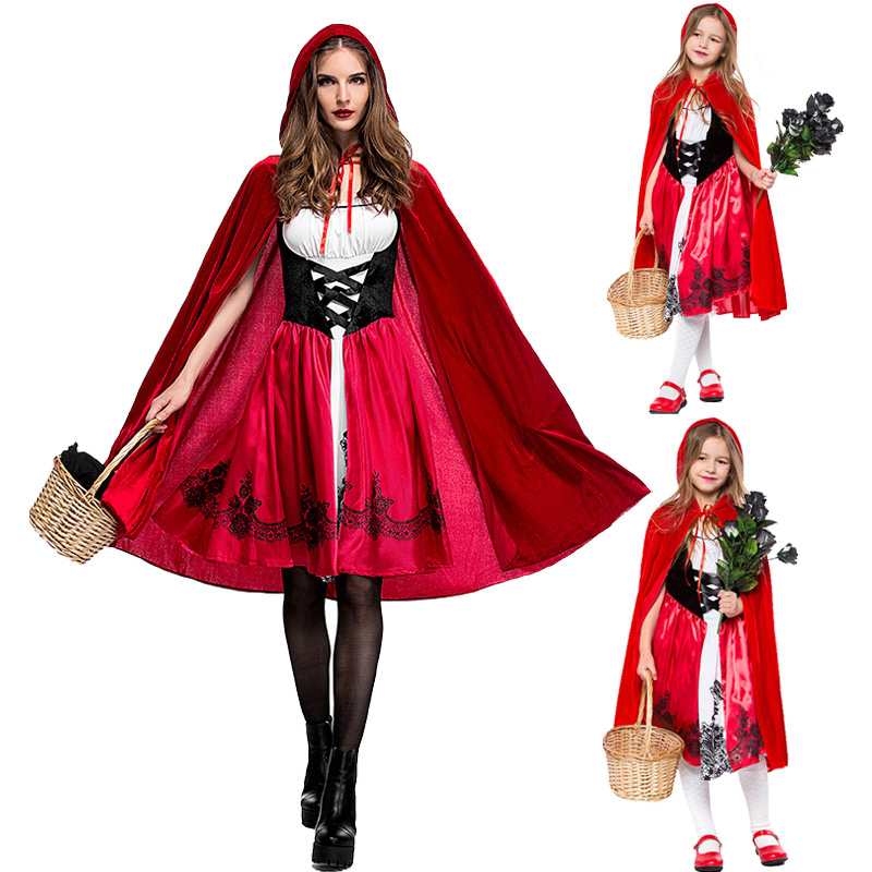 Halloween Costumes for Women Kids Little Red Riding Hood Cosplay Costume Adult Children's Performance Clothing Party Dress&cloak