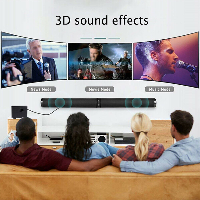 YOUXIU 65W TV Sound Bars Home Theater Soundbar Separable Bluetooth 5.0 Speakers Echo Wall Bar With Subwoofer Boost Bass 5