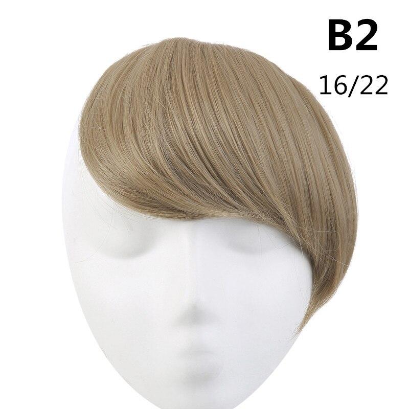 SARLA волосы челка клип в подметание боковая бахрома поддельные накладные взрыва натуральные синтетические волосы кусок волос черный коричневый B2 - Цвет: 16-22