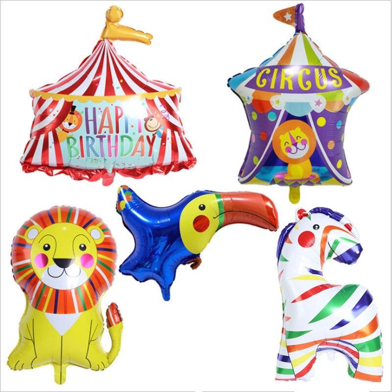 Новый цирк красочные лошадь Лев воздушный шар палатка для празднования дня рождения алюминиевый фильм воздушный шар клоун День рождения ук...