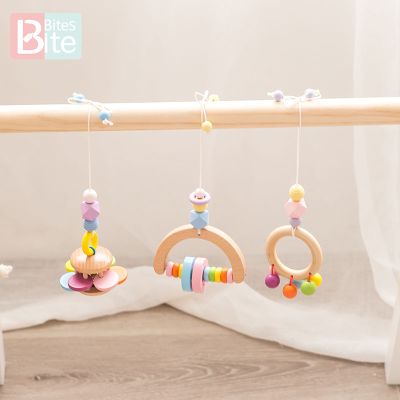 Bite Bites 1PC Baby Toys Wooden Rattles Grasp Play Game Teething Infants Toys Early Musical Educational Toys Play Gym Bed Bells