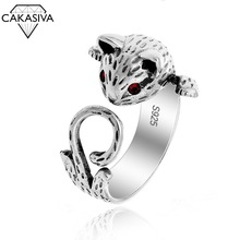S925 Silver Vintage Ring Red Eye Lucky Cat Retro Thai Silver Ring Fashion Kitty Ring for Women Gift Jewellery Adjustable Opening
