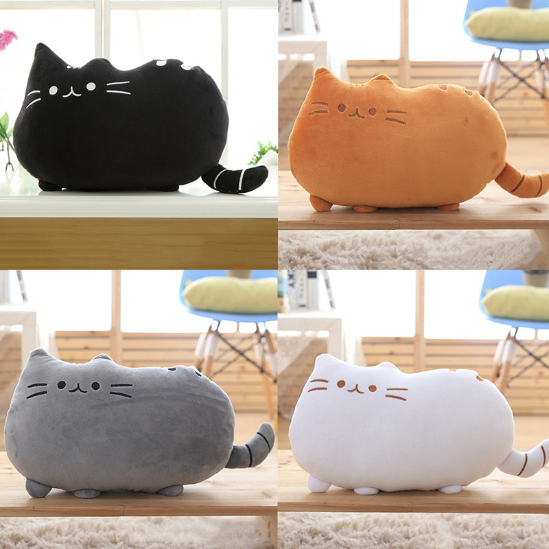 Baby Toys Cartton Biscuit Cat Pillow With PP Cotton Inside Kids Toys Doll Plush Big Cushion Cover Peluche Gift for Children