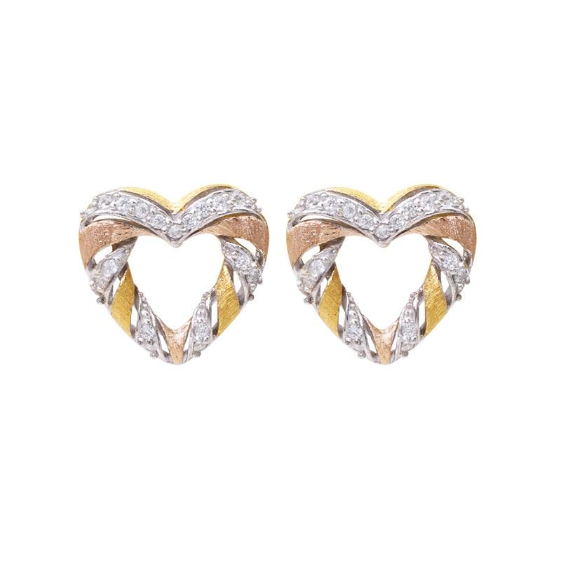 CMAJOR 925 Sterling Silver Tri-tone Gold Plated Heart Handmade Vintage Earrings For Women