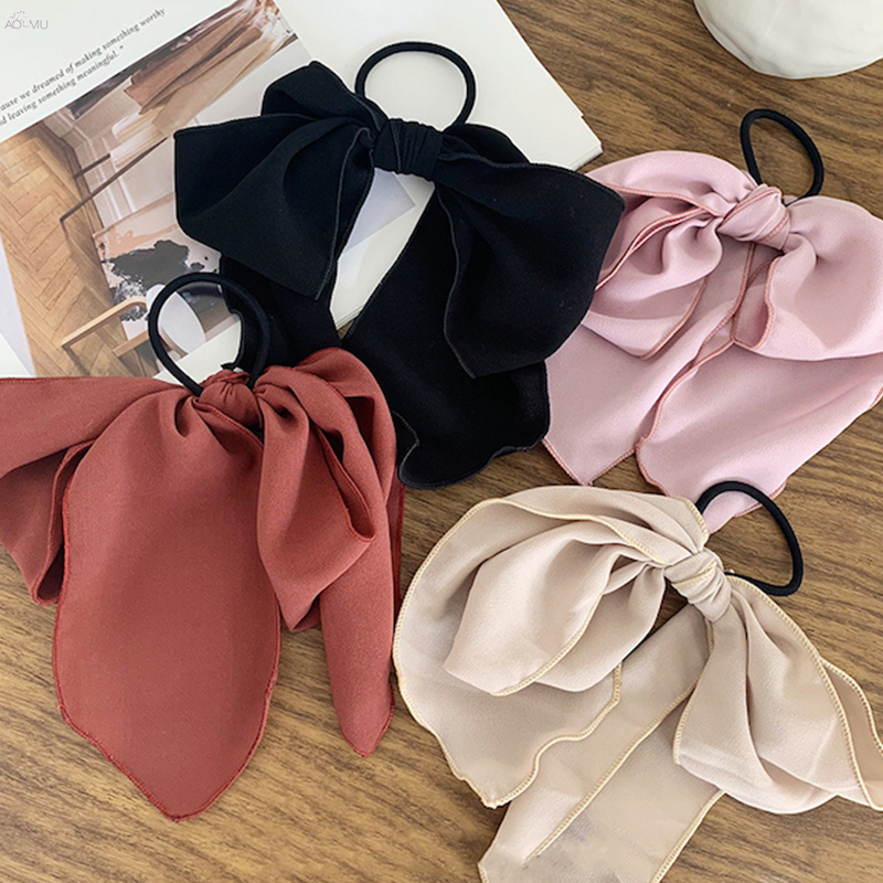 AOMU Korea Chic Solid Color Satin Elastic Chiffon Bow Hair Ring Hair Rubber Hairpins Women Headbands Hair Accessories Jewelry