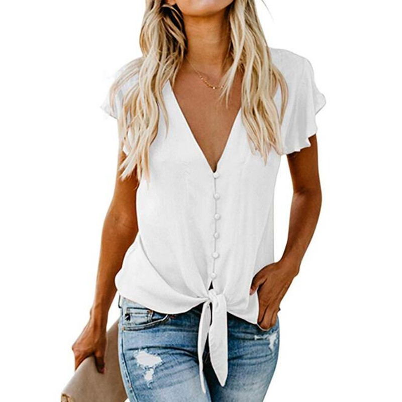 2019 Women Chiffon   Blouse     Shirt   Fashion Sexy Butterfly Sleeve Womens Tops V-neck Button   Blouses   Office Ladies   Shirts   Plus Size
