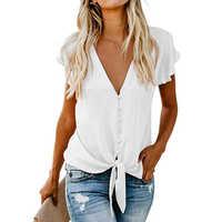 2019 femmes en mousseline de soie Blouse chemise mode Sexy papillon manches femmes hauts col en v bouton Blouses bureau dames chemises de grande taille