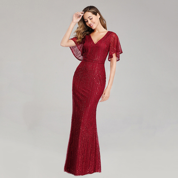 Sparkle Sexy Mermaid Evening Dresses Long Sequined V-Neck Sparkle Evening Gowns For Party Vestidos Largos Fiesta 2019 New Dress 3