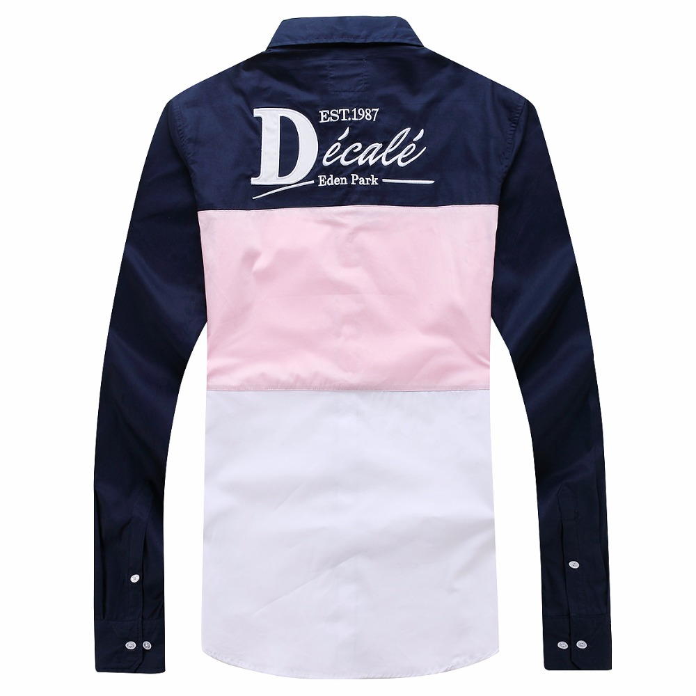 men's eden french brand design shirts patchwork long sleeve casual shirt cotton camisa masculina homme embroidery park tops 3xl 1