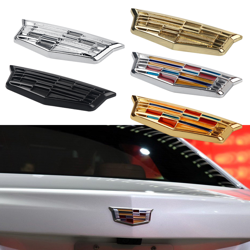 Car Styling 1Pcs 3D Metal Side Fender Emblem Tail Trunk Sticker For Cadillac Escalade CTS STS DTS SRX XLR ATX Accessories