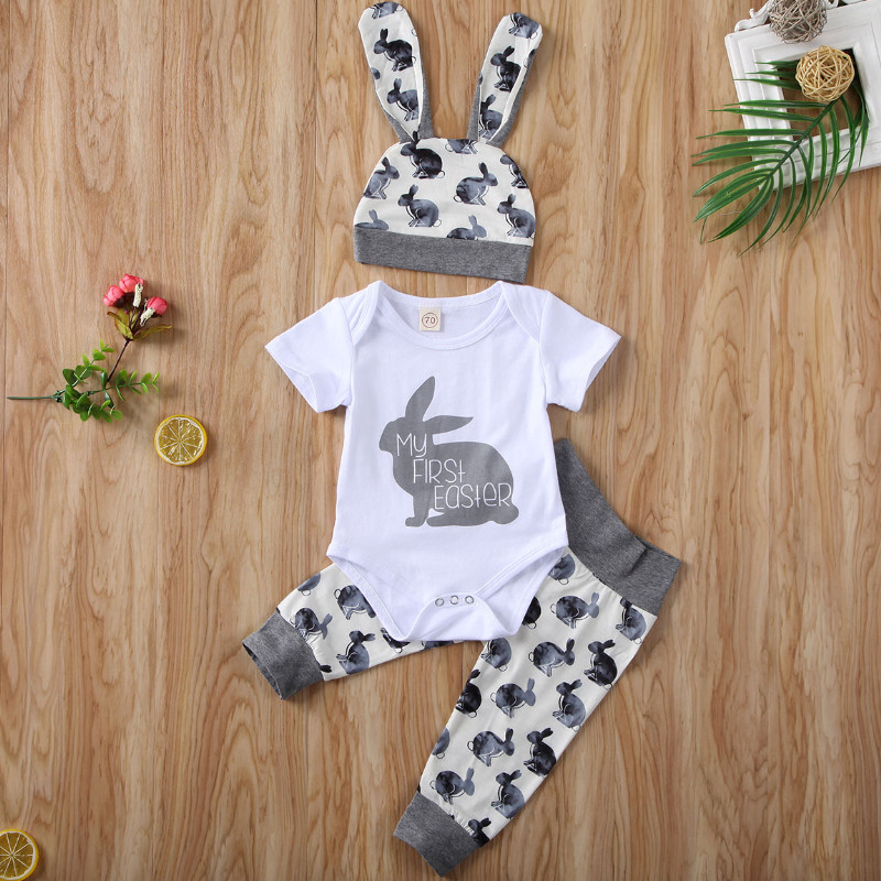 Emmababy 3PCS Toddler Newborn Baby Girl Boy Short Sleeve Outfits Set Lovely Bunny Tops Pants Hat Summer