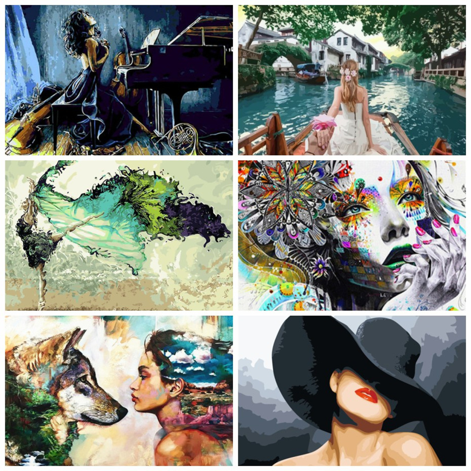 AZQSD DIY Painting By Numbers Adults Portrait Full Kits Oil Paint By Numbers Art Figure Drawing 50x40cm Home Decor(China)