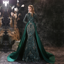 Robe-De-Soiree Party-Gown Evening-Dresses Moroccan Kaftan Sequin Long-Sleeve Green Muslim