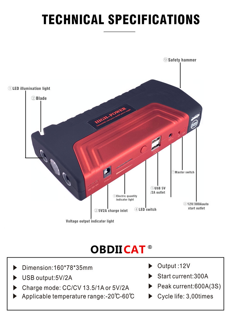 OBDIICAT-D5 Car Jump Starter 12V 600A Portable Starter Power Bank Petrol Starting Device Car Charger For Car Battery Booster Pakistan