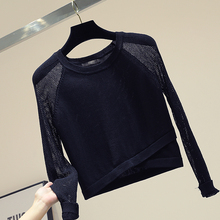 Thin Hollowed-out Pullover Sweater Woman 2019 Fall New Slim Short Knitted Sweater Shirt Blusa Femme Jumpr Jersey Mujer White thumbnail