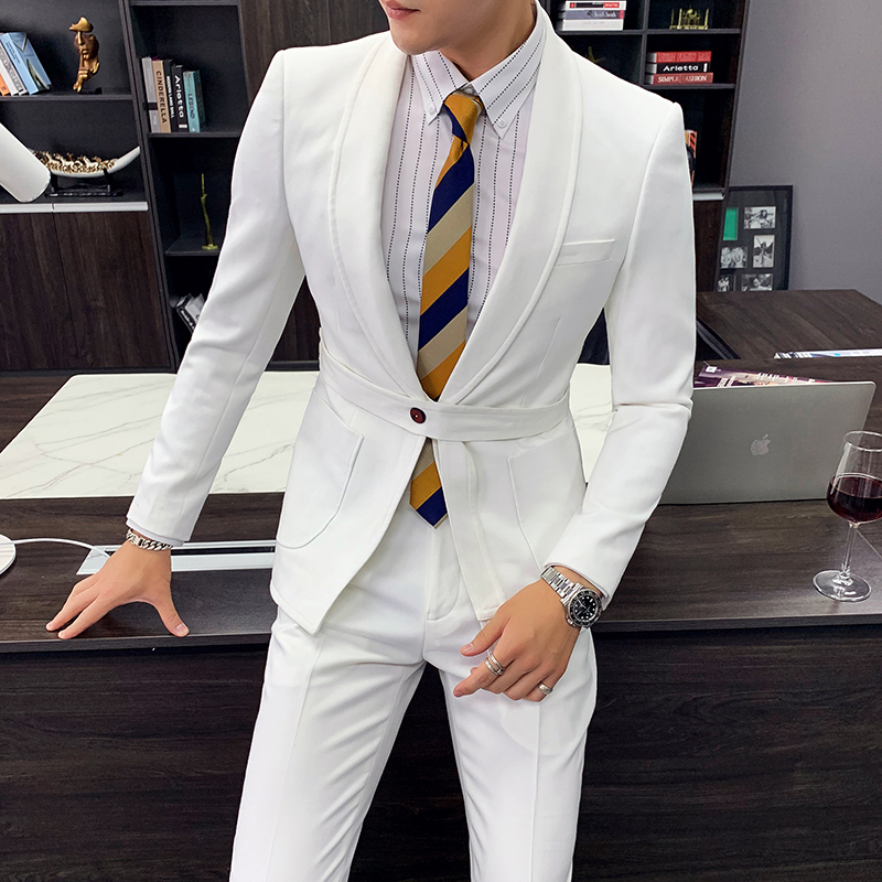 Ternos Masculino Black Belt Business Affairs Men Tuxedo Suit Western-style Trousers Man 2020 Spring Man's Suit Pants 2pcs White