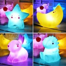 LED Cute Decoration Lamps Cartoon Night Light Moon Star Elephant Girl Kids Children Toys Gifts for Bedroom Bedside Room Lights