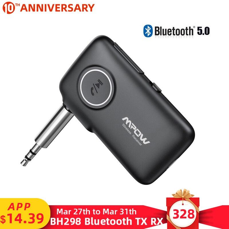 Mpow bh298 sem fio bluetooth 5.0 receptor de áudio 15h tempo de jogo 30 m/66ft faixa de operação para o carro aux wired fone de ouvido/sperakers