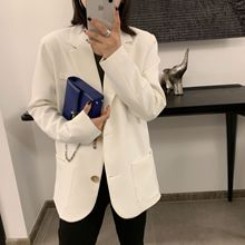 New Women Spring Garment Korean Leisure White Suit Loose Single-breasted 2019 Single Breasted Jackets and Coats