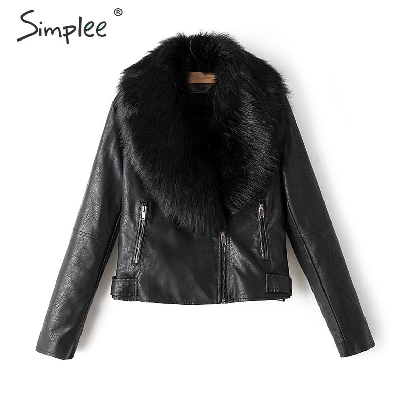 Simplee Detachable fur collar faux   leather   coat women Zippers autumn winter female furry jackets Thick outwear ladies warm coats
