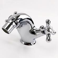 Free ship Chrome Singe hole double cross handles bathroom bidet faucet mixer tap