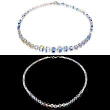 Fashion Aurora Borealis Women Square Crystal Necklace Clavicle Choker Wedding Jewelry