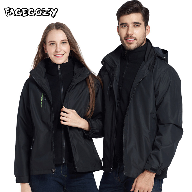 Facecozy Winter Autumn Men Women Outdoor Thermal 3 In 1 Hiking Jackets Camping Trekking Skiing Fleece Coat For Climbing Fishing