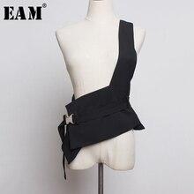 [EAM] женский свободный облегающий Черный Асимметричный бандажный жилет с разрезом, модный жилет без рукавов, весна-осень 1H975