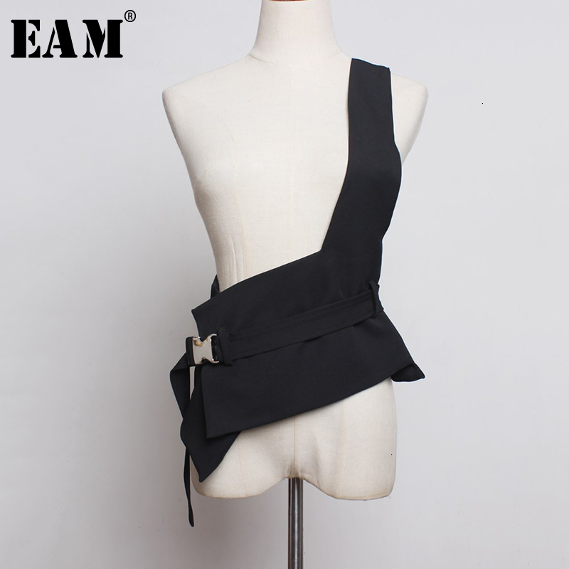[EAM] Women Loose Fit Black Asymmetrical Split Joint Bandage Vest New Sleeveless   Fashion Tide Spring Autumn 2020 1H975