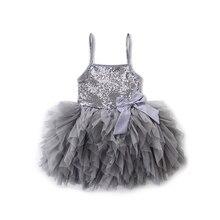Детское платье принцессы золотистого и серого цвета, летнее кружевное платье-пачка с бантом и блестками, платье для свадебной вечеринки