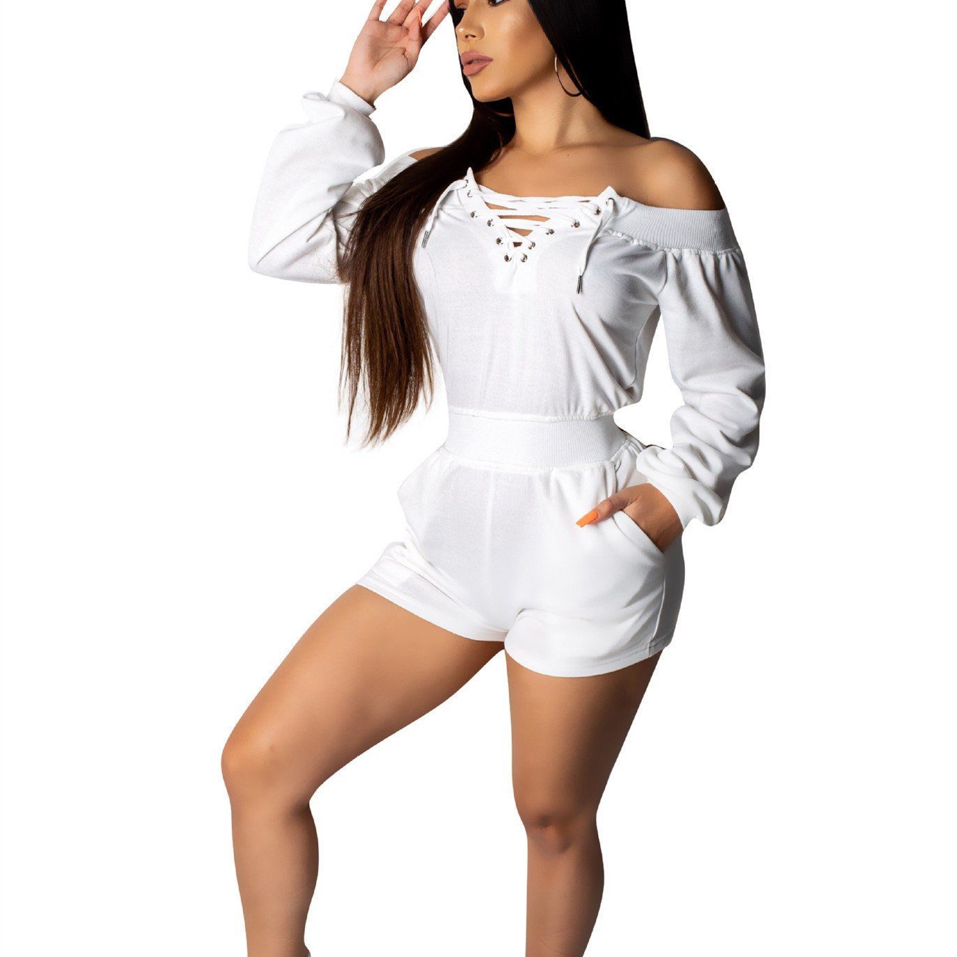 Women Sexy Slash Neck Casual Rompers Autumn Fashion Long Sleeve Bandage Solid Jumpsuits Pockets Loose Short Overalls