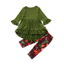 Hot Boutique Toddler Kids Girl Clothes set Children pure green mini dress Floral pants Ruffled Long Sleeve Wide Leg INS Fashion