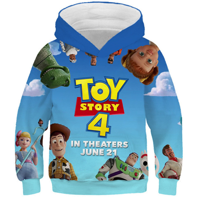 2019 Autumn Kids Anime Game 3D Hooded Sweatshirts Boys Girls Toy Story Season 4 Printed Hoodies Children Fashion Pullover Tops image