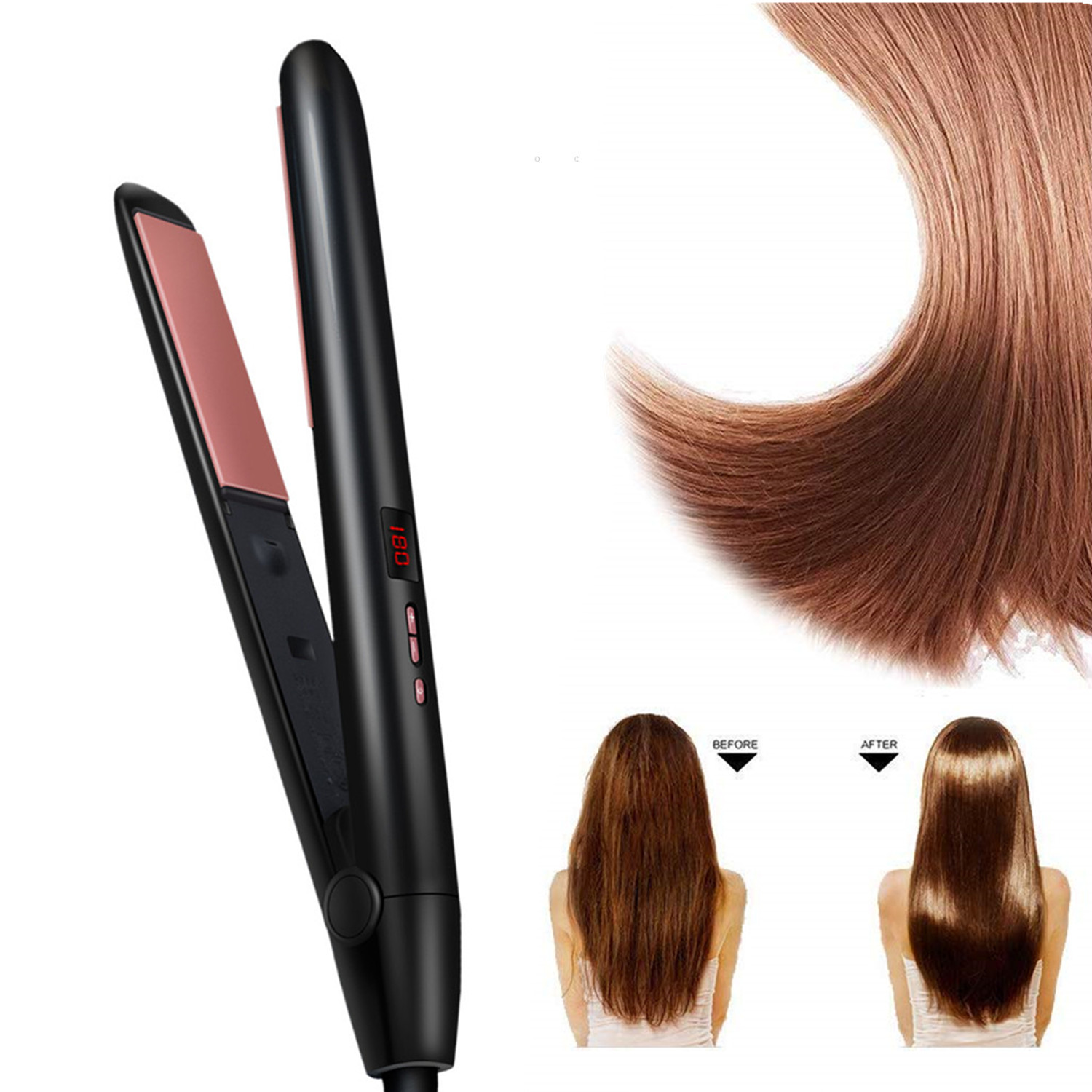 Hair Straightener Curler Hair Flat Iron Corrugation <font><b>LED</b></font> Display Negative Ion Infrared Professional Hair Straighting Curling Iron image
