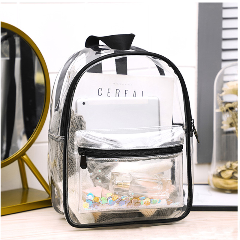 PVC Transparent Backpacks For School Clear Backpack Shoulder Bags Waterproof Schoolbags Teenage Girls Fashion Bookbag
