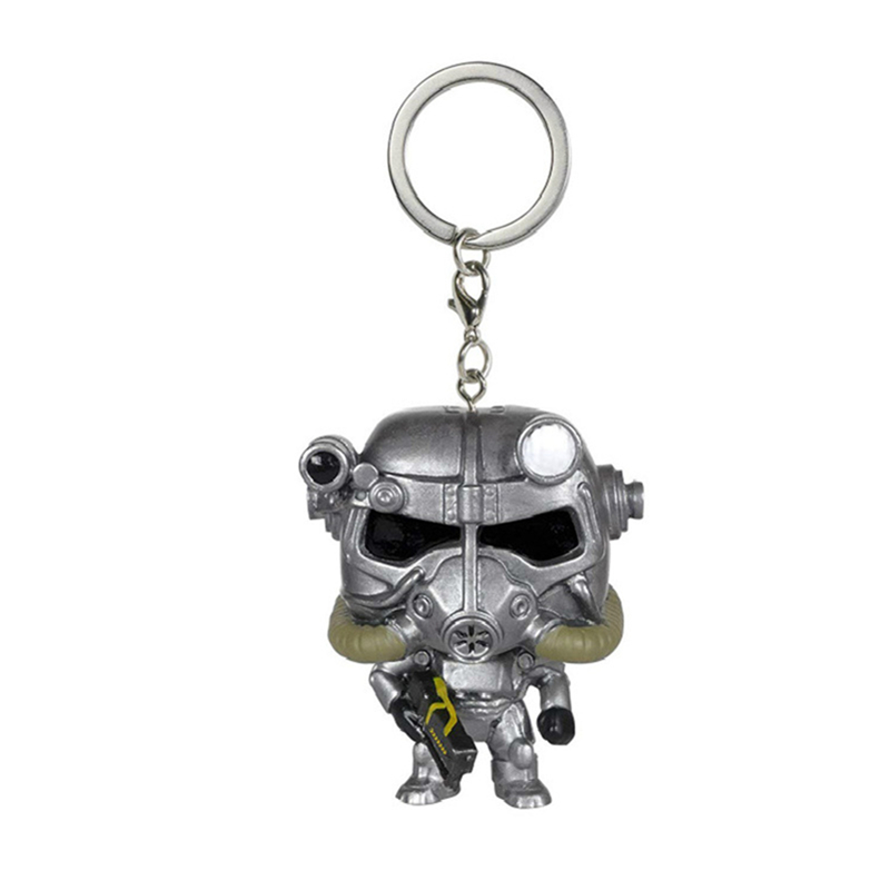 Pocket Fallout Power Armor Keychain Gaming Heads Fallout Action Figures Collectible Model Toys Children Gifts with box image