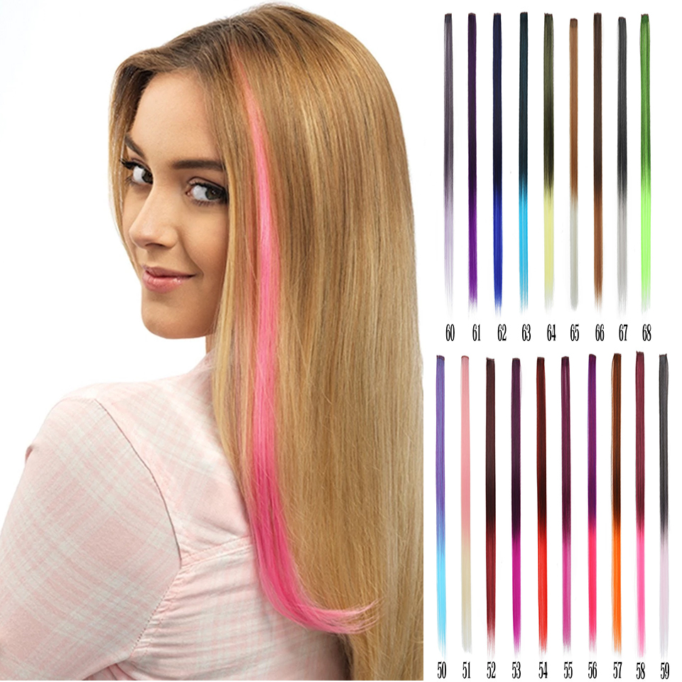 Lupu Long Straight Color Hair Extension Synthetic Colorful Hair Clip Girl Natural Rainbow Hair 22 Inch