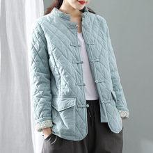 Cotton Linen Blouse Clothing Winter Vintage Loose Warm Plaid Cotton Coat Women's Chinese Buckle Thic