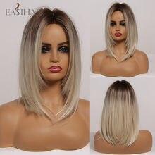 Eashihair – perruque synthétique mi-longue lisse pour femmes, postiche de style BoBo avec raie au milieu pour Cosplay, résistante à la chaleur