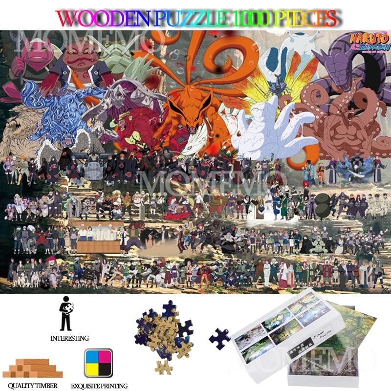 Все люди в Наруто 1000 штук головоломки для взрослых мультфильм аниме деревянные головоломки, образовательные головоломки для малышей, игруш...