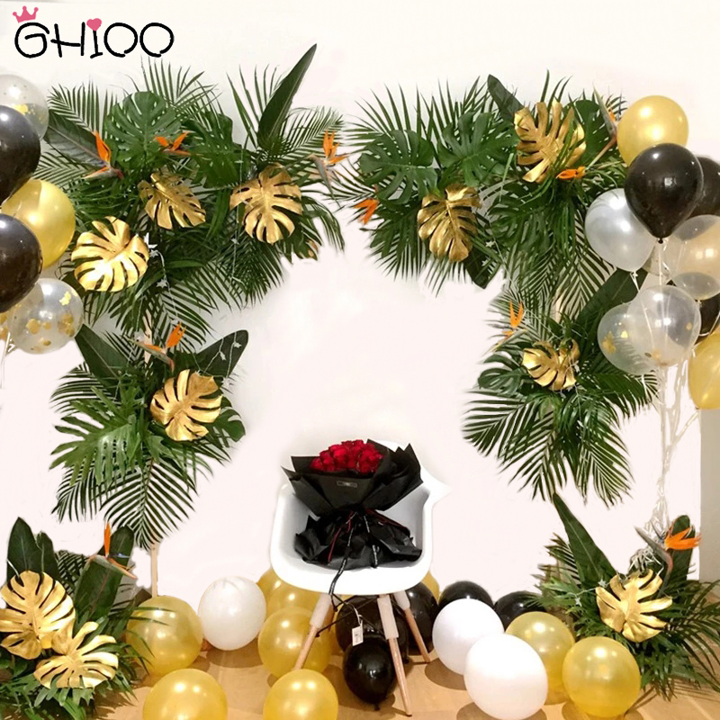 5pcs Gold Green Palm Leaves Fake Artificial Tropical DIY Plant Hawaiian Jungle Party Summer Birthday Wedding Party Decorations