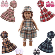 Doll Clothes 2 Pcs/Set=Woolen Dress+Hat Fit 18 Inch American Doll&43 CM Born Baby Doll,Our Generation,Girl's Toy,Christmas Gift(China)