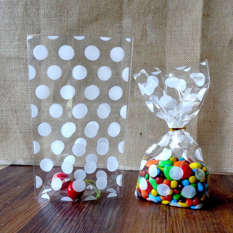 100pcs Polka Dots Frosted Plastic Bag Cookies Diy Gift Tassen Voor Christmas Party Candy Food & Handgemaakte Zeep Verpakking
