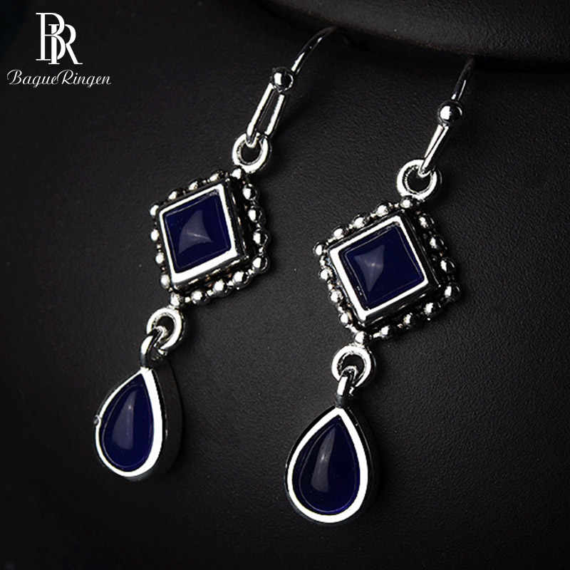 Bague Ringen Geometry Silver 925 Jewelry Square Sapphire Earrings for Women Long Water drop shaped Ear drops Elegant Anniversary