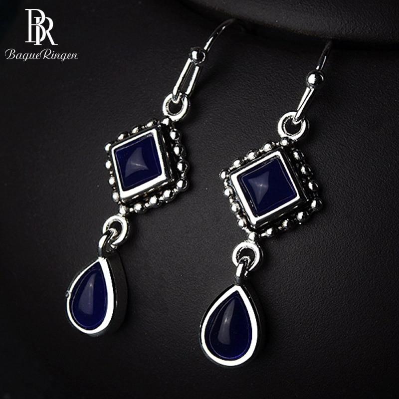 Bague Ringen Geometry Silver 925 Jewelry Square Sapphire Earrings For Women Long Water Drop Shaped Ear Drops Elegant Anniversary