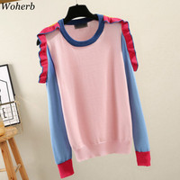 Woherb 2019 Korean Fashion Pink Sweater Womens Off Shoulder Knit Pullovers Autumn Long Sleeve Ruffle Tops Jumper Femme Clothes
