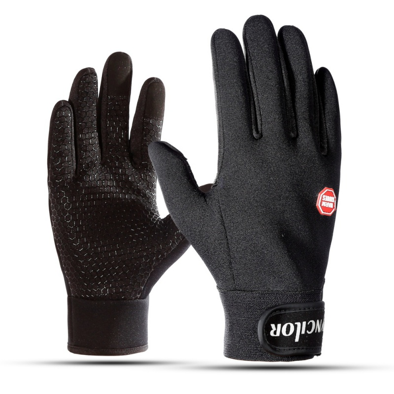 AISPORT Cycling Gloves Winter Cold Weather Warm Fleece Inner Adjustable Full Finger Motorcycle Driving Gloves For Ski Snowboard